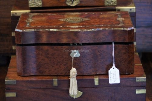 Antique 1880 Victorian Coromandel Writing Slope/Box With Mother Of Pearl & Birds Eye Maple Wood