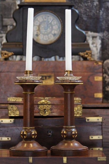 Pair Antique Brass & Crystal Turned Wood Candlesticks