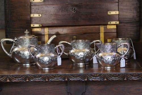 Set Of 5 Antique James Tufts Tea Set