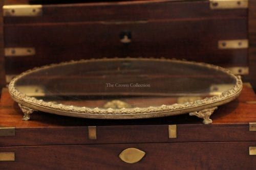 Antique Round Plateau Footed Mirror Tray