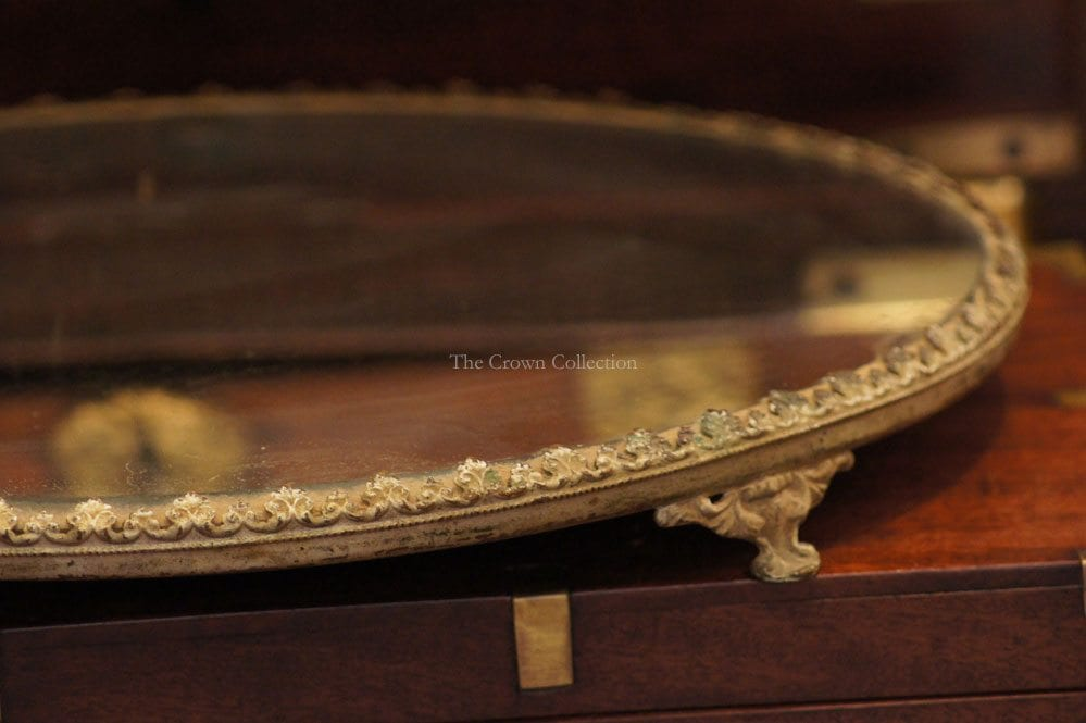 Antique Round Plateau Footed Mirror Tray The Crown