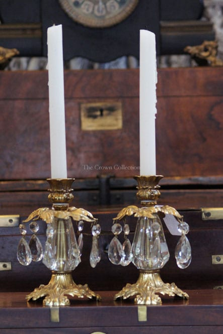 Pair Vintage French Prism Candle L&L WMC 1973