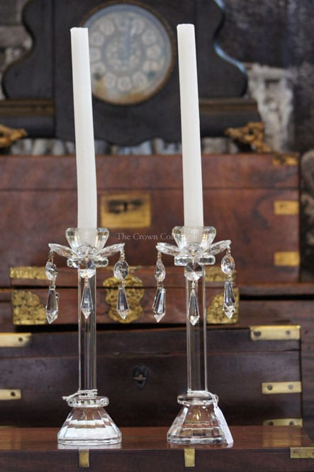 Pair Crystal Candlesticks With Prisms
