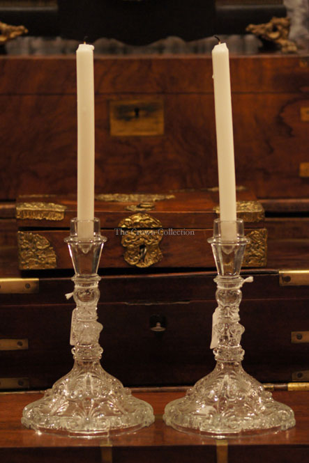 Pair Antique Pv France Portieux Vallerysthall Candlesticks