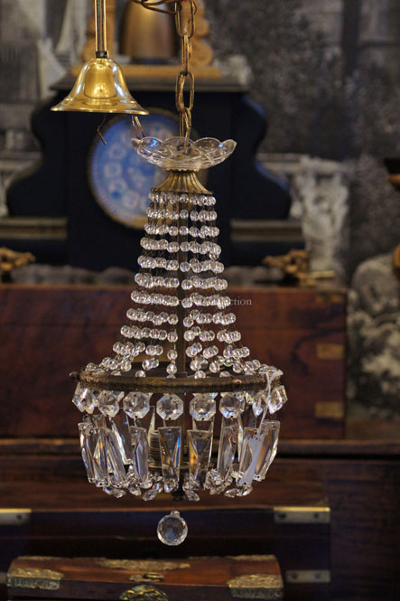 Regency Style Teardrop Cut Glass Chandelier