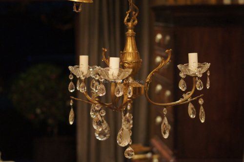 Vintage 3 Arm French Bronze & Crystal Chandelier