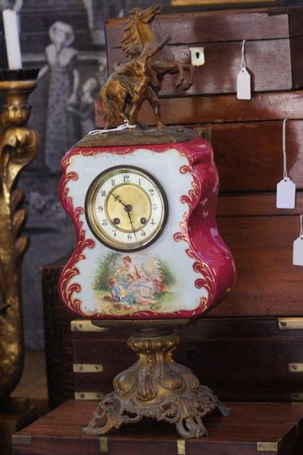 Antique Limoges Porcelain & Bronze Clock With Horse Statue