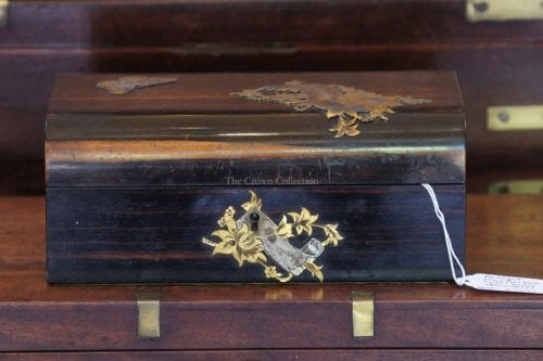 Antique Wooden Box With Brass Decoration