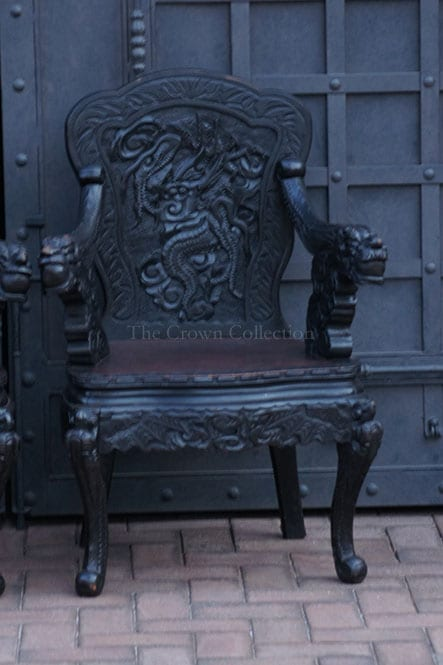 Pair Of Carved Wooden Dragon Carver Chairs
