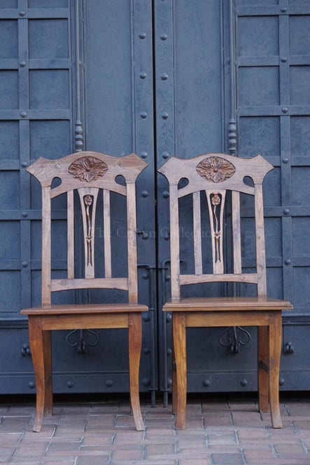 Pair Teak Carved Chairs
