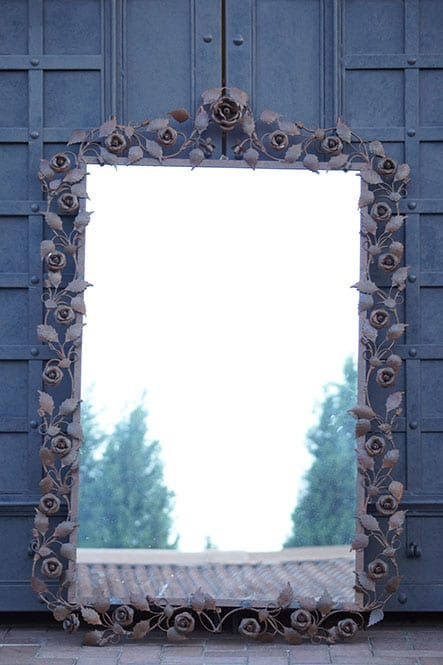 Rust Rose Wrought Iron Mirror