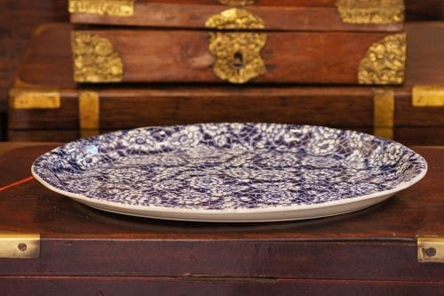 English Floral Blue And White Platter
