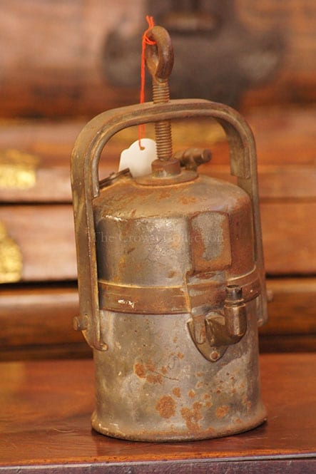 Rustic Carbide Miner Wolf Lamp