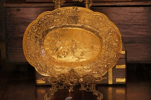 Ornate Antique Brass Tray (Excludes Easel)