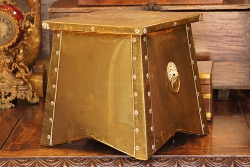 Brass Mounted Coal Bin With Ship Details & Lionhead Handles