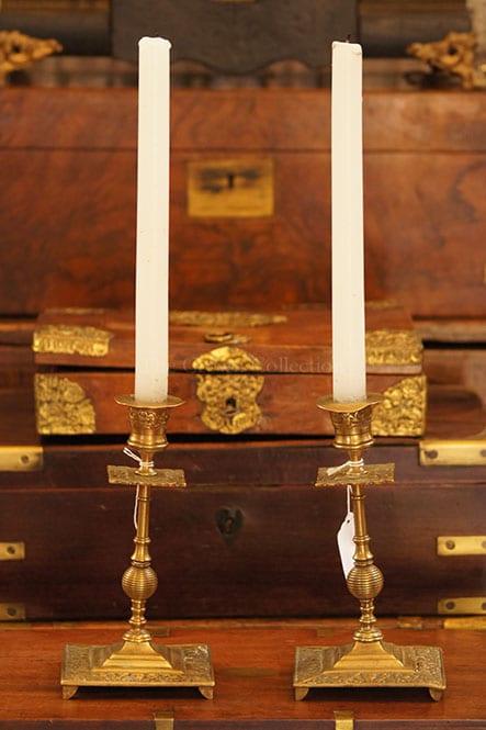 Pair Brass Victorian Candlesticks