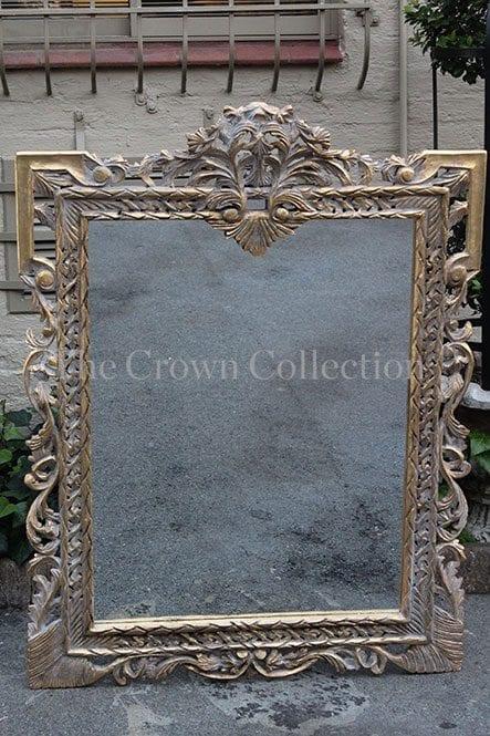 Ornate rectangular gilded gold mirror