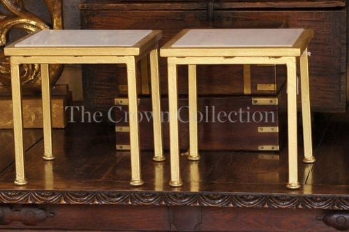 Pair gold & marble steel tables