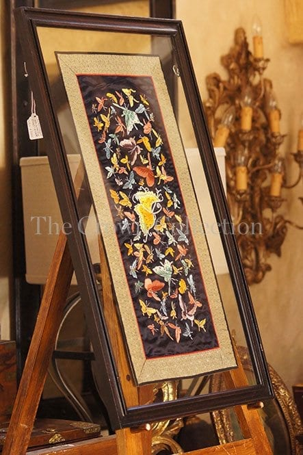 Framed embroidered silk butterfly panel (black)