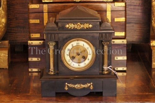 French side clock with brass mount / pillars and chime