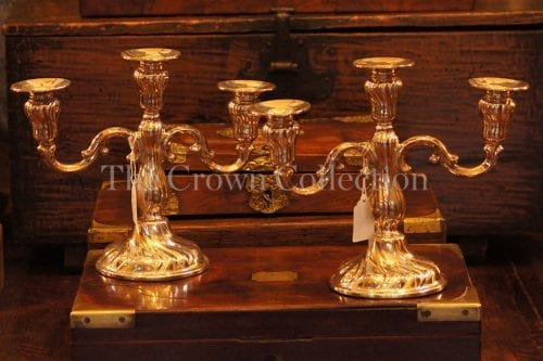 Pair 3 arm silver plated candelabras