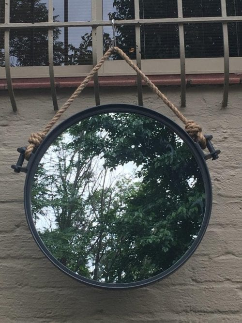 Wrought Iron Mirror with Rope Detail