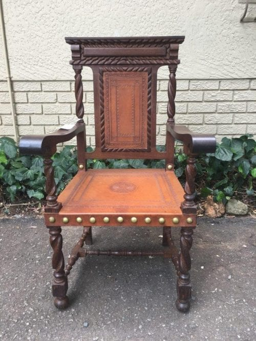 Portuguese Carved Oak Chair with Leather