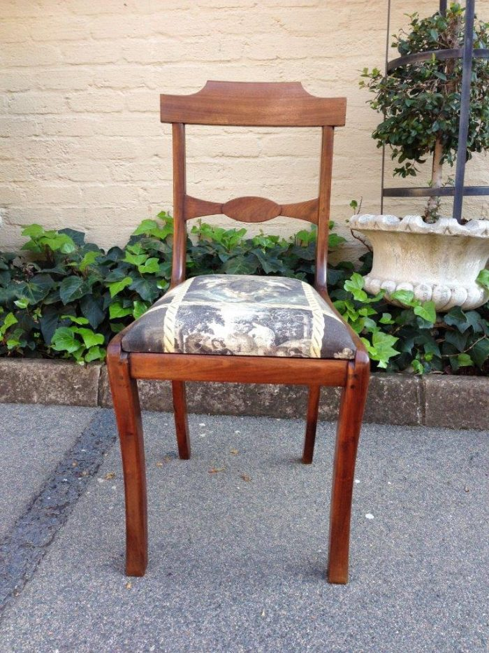 Antique Chair Recovered in Hand Painted 100% Linen