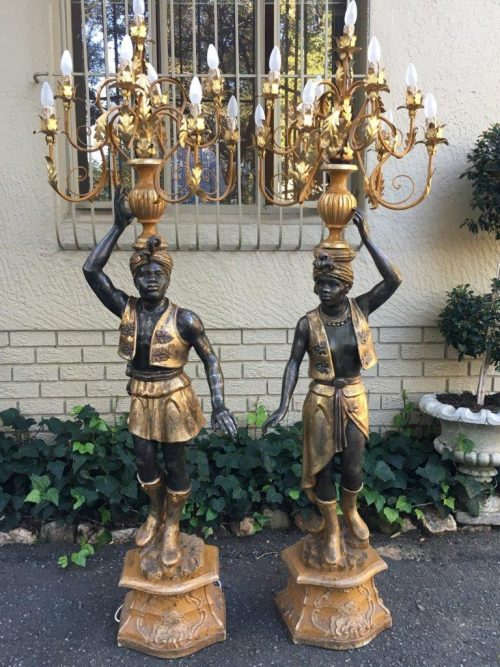 Pair of Original Italian Blackamoore Candelabra 9 Lights