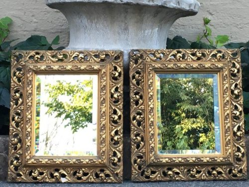 Pair Gilded Bevelled Mirrors