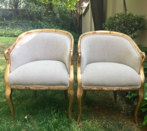 Pair of Gilded Mahogany Tub Chairs with Swan Detailing on the Arms