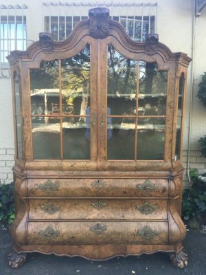 19th Century Dutch Burr Walnut Display Cabinet