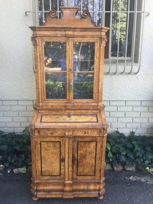 19th Century Continental Burr Walnut Fall Front Display Cabinet