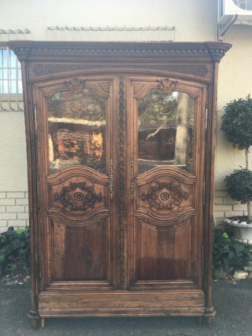 French Antique Natural Oak Armoire