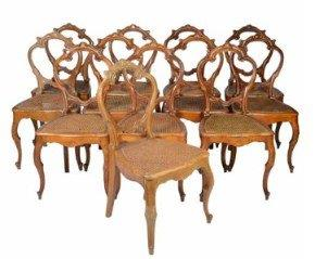 Set of 12 French Style Rattan Dining Chairs