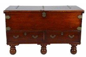 Mahogany Chest of Large Proportions with Brass Hardware on Bun Feet