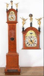 Dutch Walnut Grandmother Clock on a Small Plinth