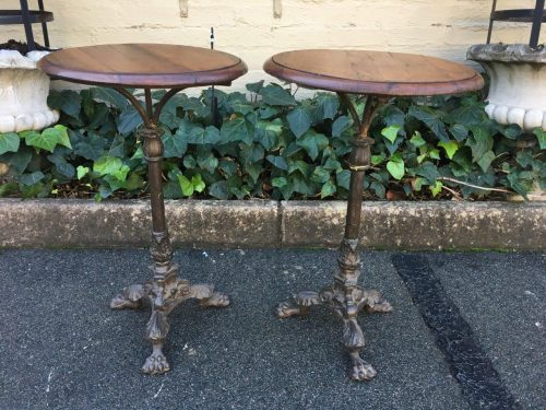 Pair Cast Iron & Teak Tables