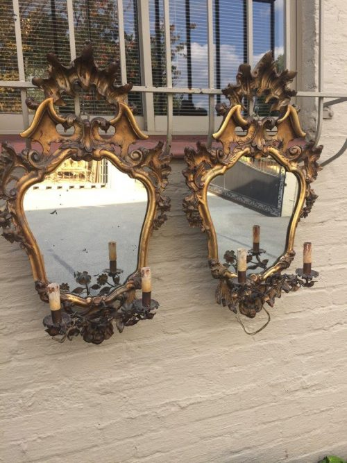 Pair French Gilt Metal Wall Sconces with 2 Candlesticks