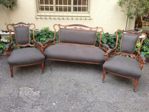 3 Piece Set of Mahogany Carved Sofa and 2 Chairs with Original Castors