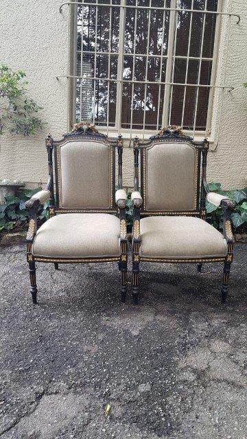 Pair of French Gilt and Ebonised Armchairs 19th Century