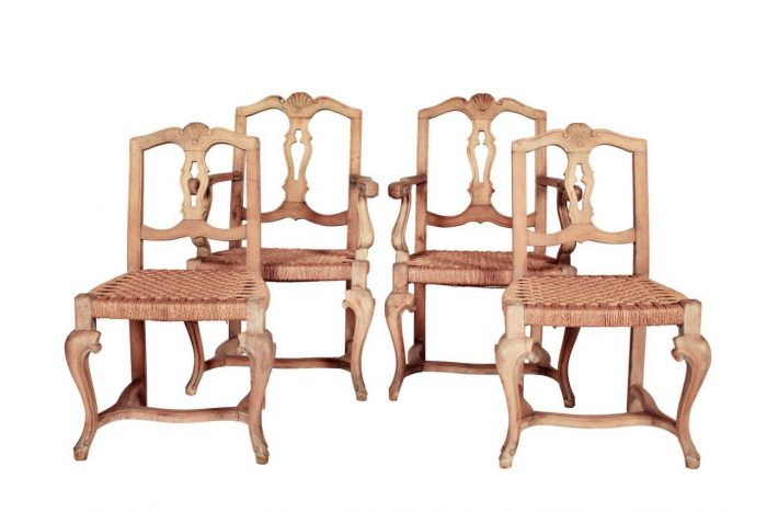Set of 4 Carved Wooden Chairs with Seagrass Seats (2 x Armchairs and 2 x Occasional Chairs slightly lower than Armchairs)