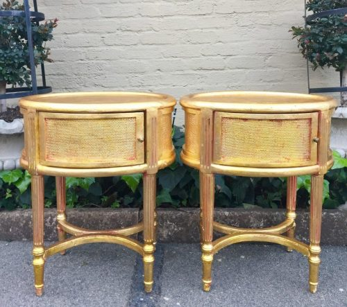 Pair of Gilded Oval Pedestals