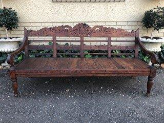 Carved Wooden Bench Circa Post 1950