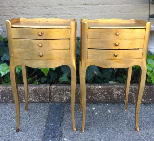 Pair of French Gilded Bedside Pedestals