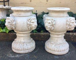 Pair Concrete Decorative Lion Pots