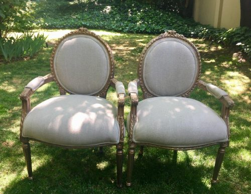 Pair of Gilded Armchairs *Brand New Upholstery*