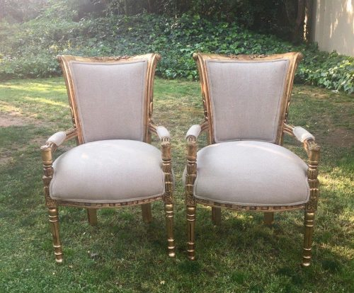 Pair of Gilded Armchairs
