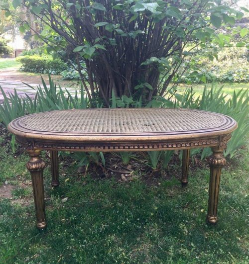 Gilded and Rattan Table