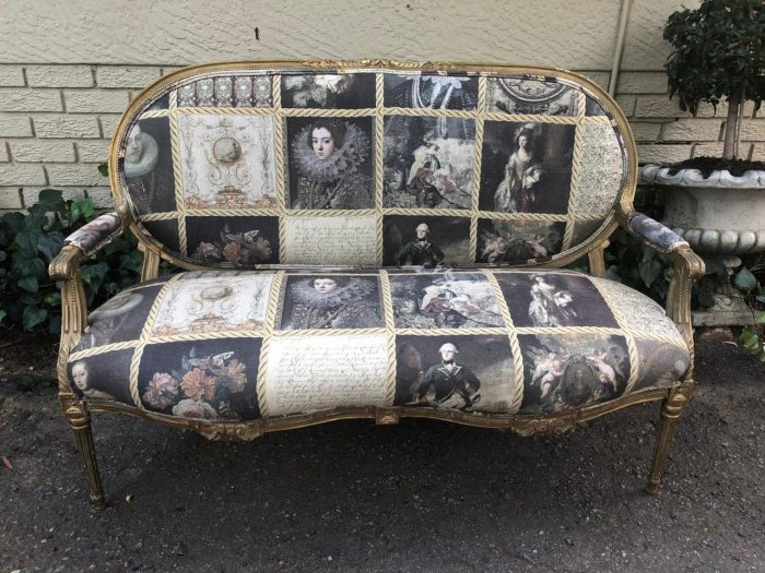 French style gilded settee with hand-painted fabric